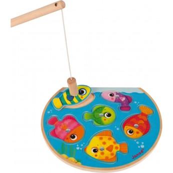 Gra łowienie rybek i układanka Szybkie Rybki 2w1, Janod