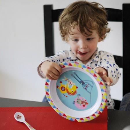 Talerz dla dziecka Magic Circus płaski duży 21 cm, Ebulobo