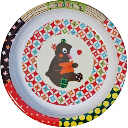 Talerz dla dziecka Miś WoodOurs płaski duży 21 cm, Ebulobo
