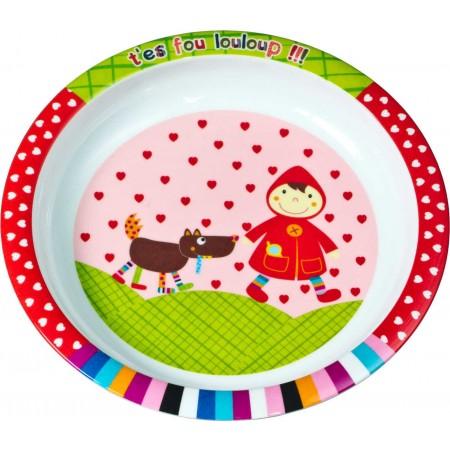 Talerz dla dziecka Czerwony Kapturek płaski duży 21 cm, Ebulobo