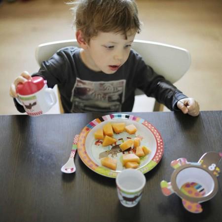 Talerz dla dziecka Szalony Wilk płaski duży 21 cm, Ebulobo