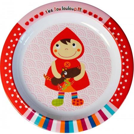 Talerz dla dziecka 21cm Czerwony Kapturek z Wilkiem, Ebulobo