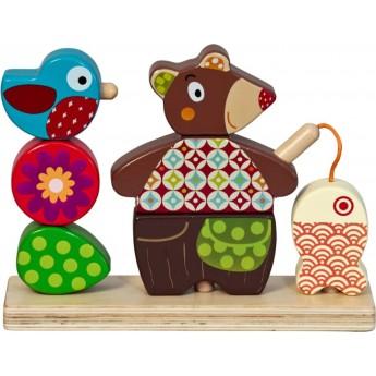 Zabawka do nakładania Miś WoodOurs drewniane klocki, Ebulobo