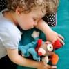 Przytulanka kocyk Pies Gustaw niebieski dla niemowląt, Ebulobo