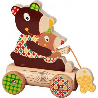 Zabawka do ciągnięcia drewniany Miś WoodOurs +18mc, Ebulobo