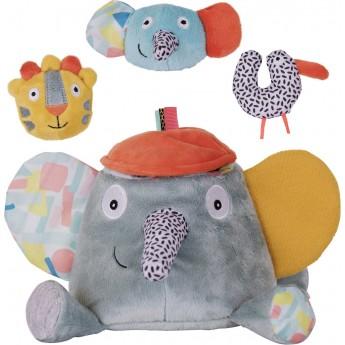 Edukacyjna pluszowa zabawka Słoń Ziggy dla niemowląt, Ebulobo