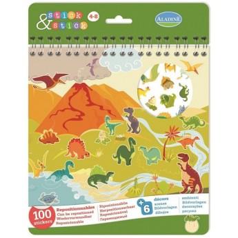 Książeczka z naklejkami Dinozaury 100 sztuk dla 4 latka, Aladine