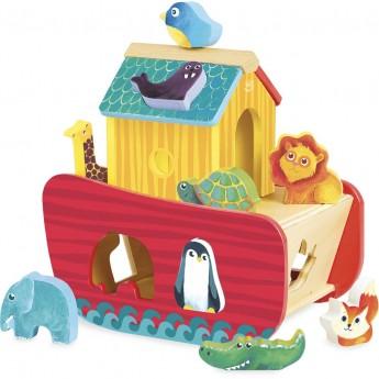 Vilac Drewniany sorter kształtów Arka Noego ze zwierzętami 2+