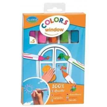 Markery do szyb łatwe zmywalne 5 sztuk dla dzieci +5, Aladine
