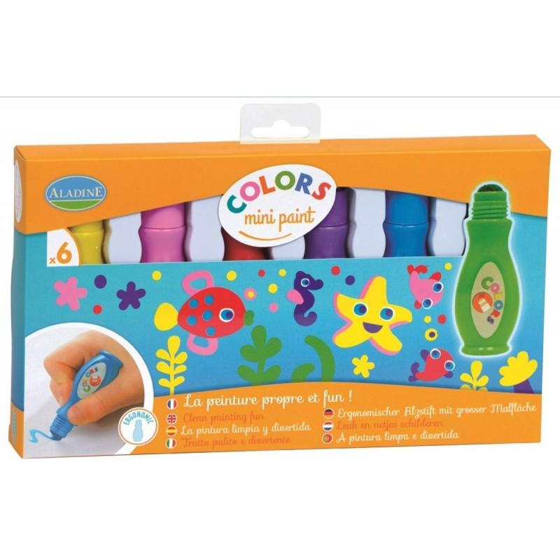 Farby w sztyfcie z gąbką 6 sztuk dla 3 latka, Aladine