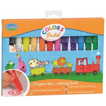 Kredki pastele 12 szt w sztyfcie dla dzieci +3, Aladine