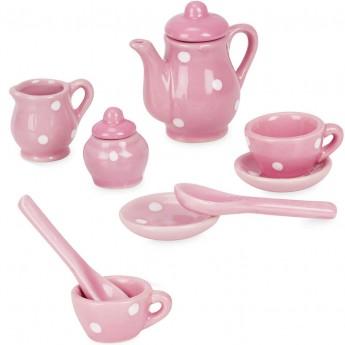 Miniaturowy serwis porcelanowy dla lalek różowy, Petitcollin