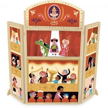 Duży teatrzyk drewniany z 3 kukiełkami dla dzieci +3, Vilac