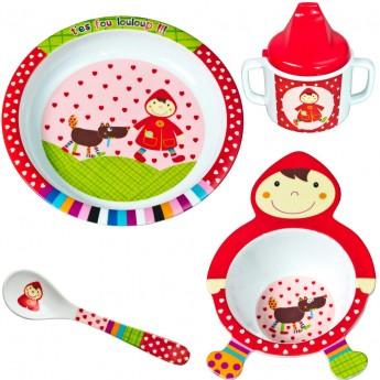 Zestaw obiadowy dla niemowląt Czerwony Kapturek 4 elementy, Ebulobo