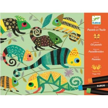 Djeco Zestaw kreatywny +8 do malowania pastelami Kolorowa Dżungla