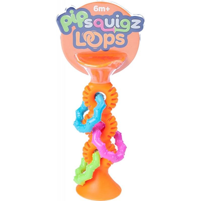 Grzechotka z przyssawką PipSquigz Loops pomarańczowy, Fat Brain Toys