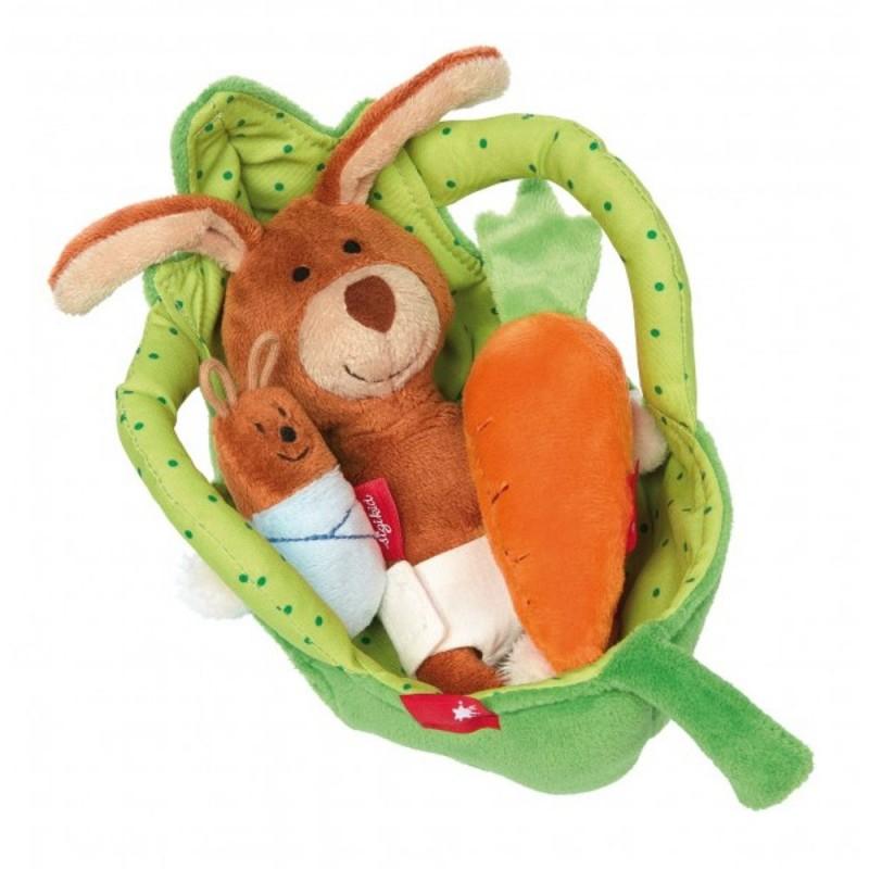 Zajączek w koszyku zabawka pluszowa dla niemowląt, Sigikid