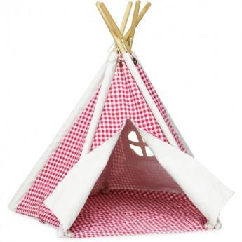 Vilac mały tipi namiot do zabawy z lalkami czerwony w romby