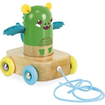 Vilac Zielony smok drewniany do ciągnięcia dla dzieci od 18mc