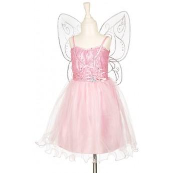 Strój wróżki Naline różowy ze skrzydełkami 3-4 lata, Souza!