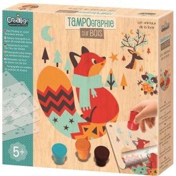 Zestaw kreatywny Las Tampondruk na drewnie, Crea Lign'