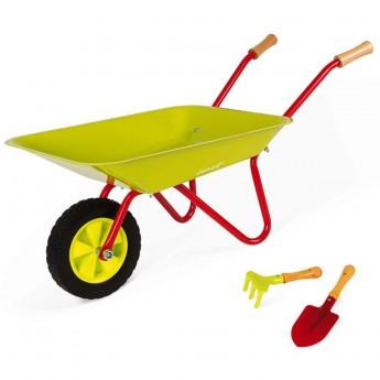 Janod Zielona taczka z grabkami i łopatką dla dzieci +3