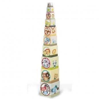 Piramida klocków wieża kostek Zwierzęta od 12m, Janod