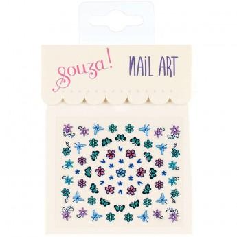 Naklejki na paznokcie Kwiaty i Motyle Blue-Green-Pink, Souza!