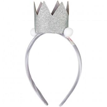 Opaska korona Mignon srebrna z brokatem dla dziewczynki, Souza!