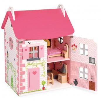 Drewniany domek dla lalek z mebelkami od 3 lat, Janod