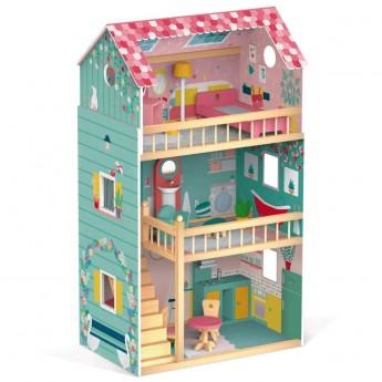 Duży umeblowany domek Happy Day dla lalek do 30 cm, Janod