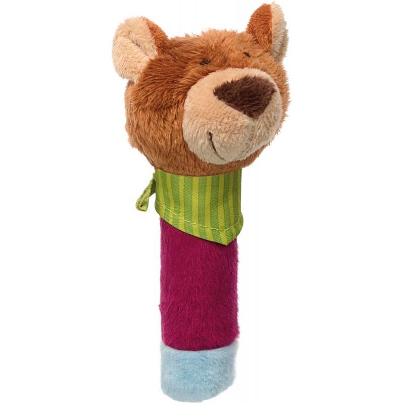 Piszczałka Miś z chustką PlayQ dla niemowląt, Sigikid