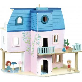 Drewniany domek dla lalek z mebelkami, lalkami i windą, Vilac
