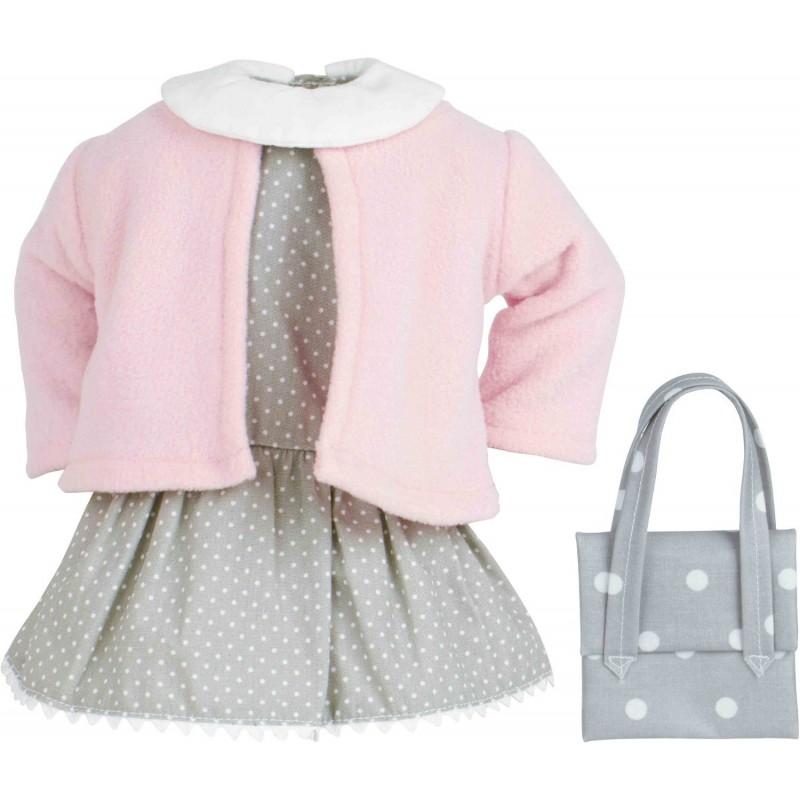 Ubranko Sally dla lalki 34cm sukienka i kardigan, Petitcollin