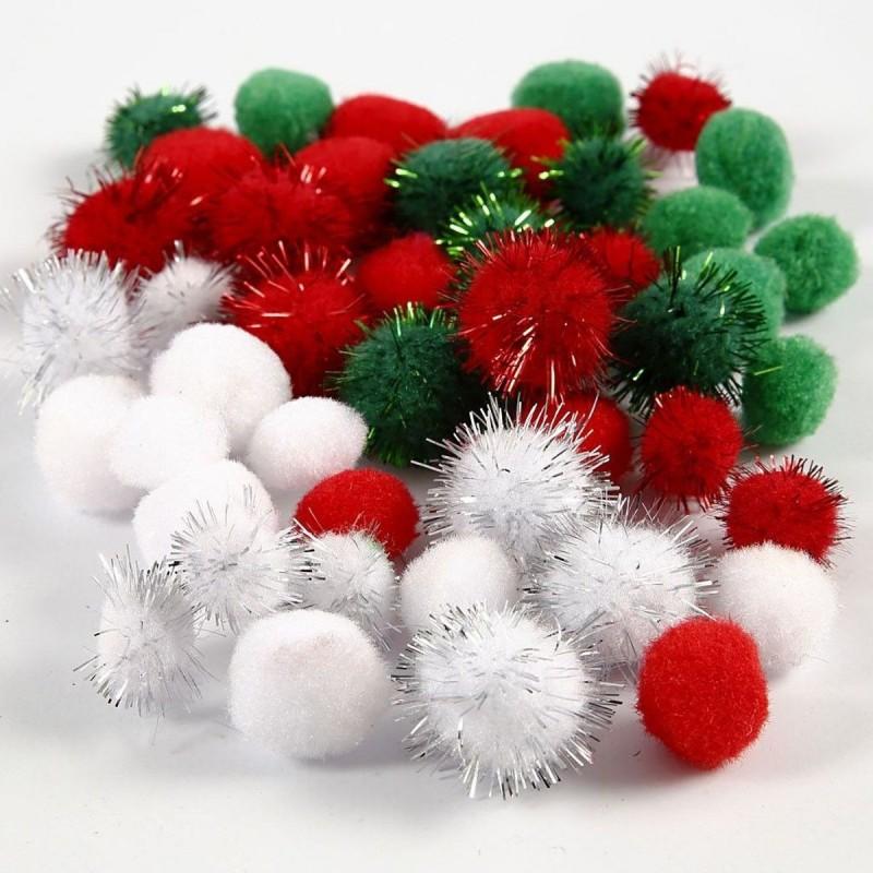 Pompony Świąteczne 3 kolory 48 sztuk, Creativ Company