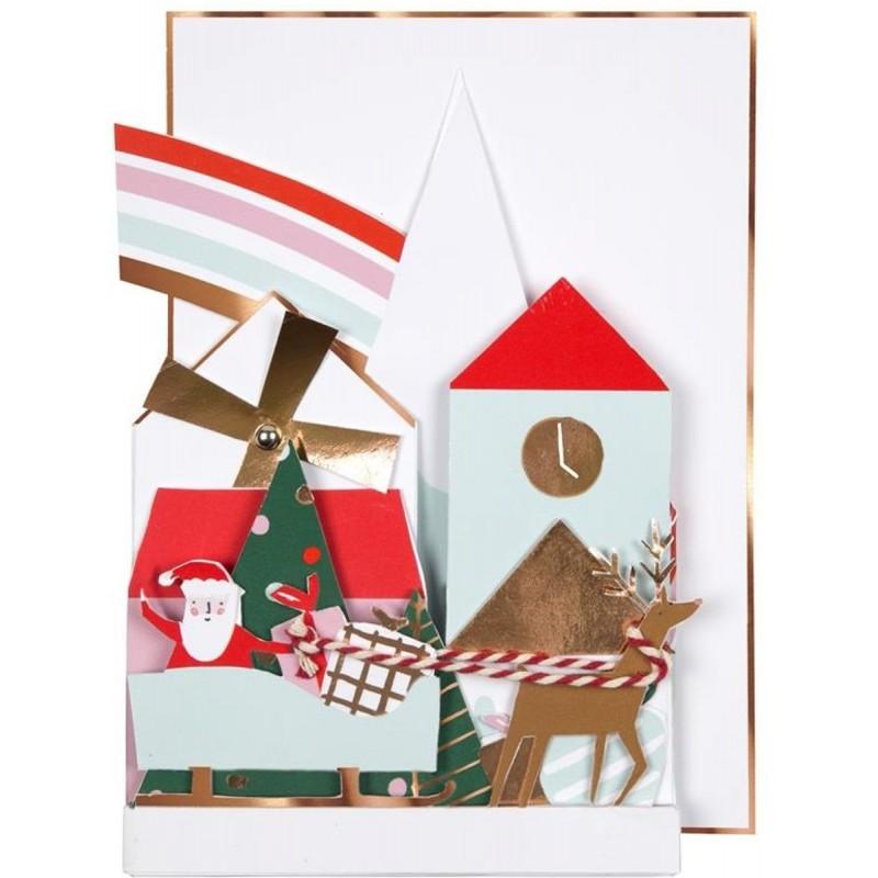 Kartka okolicznościowa 3D Świąteczna Wioska, Meri Meri