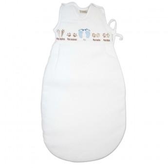 Bawełniany śpiworek do spania dla niemowlaka błękitny 85cm Stópki, Poyet