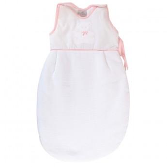 Bawełniany śpiworek do spania dla niemowlaka 60cm Miś różowy, Poyet