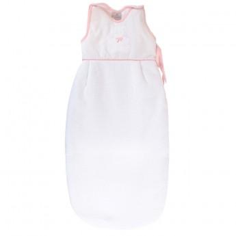 Bawełniany śpiworek do spania dla niemowlaka 85cm Miś różowy, Poyet