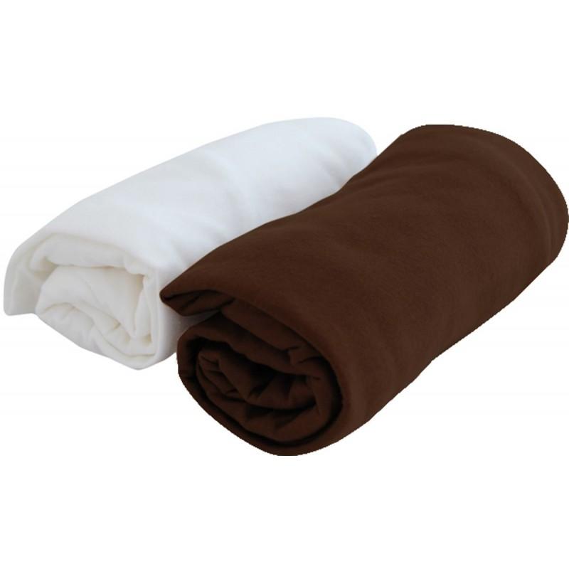 Prześcieradła 2 sztuki jersey 70x140cm białe/czekolada, Poyet