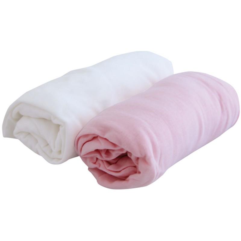 Prześcieradła jersey 70x140cm komplet 2 sztuki białe/różowe, Poyet