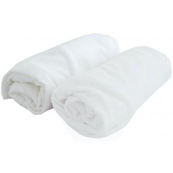 Prześcieradła jersey 70x140cm komplet 2 sztuki białe/białe, Poyet