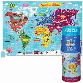 Puzzle 200 elementów z plakatem Miasta Świata, Crocodile Creek