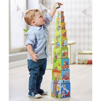 Strażak piramida klocków wieża z kostek, zabawka +12mc, Haba