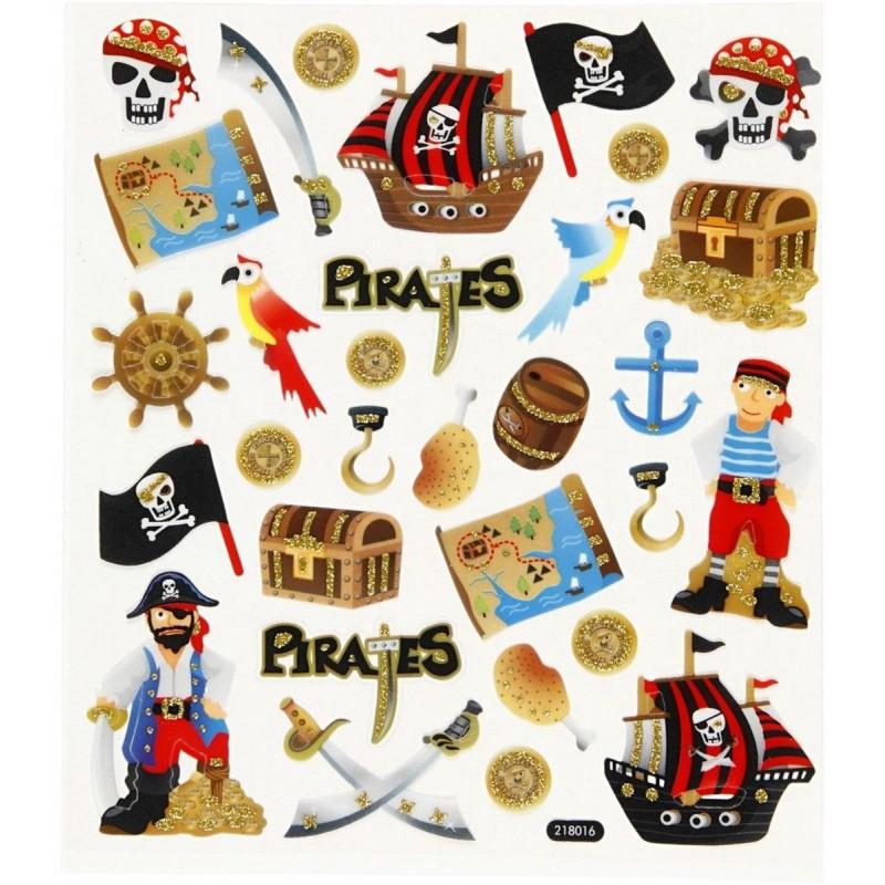 Piraci brokatowe naklejki ozdobne do zeszytów i scrapbookingu, Creativ Company