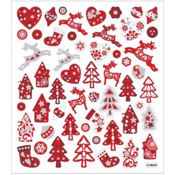 Świąteczne naklejki biało-czerwone z brokatem, Creativ Company