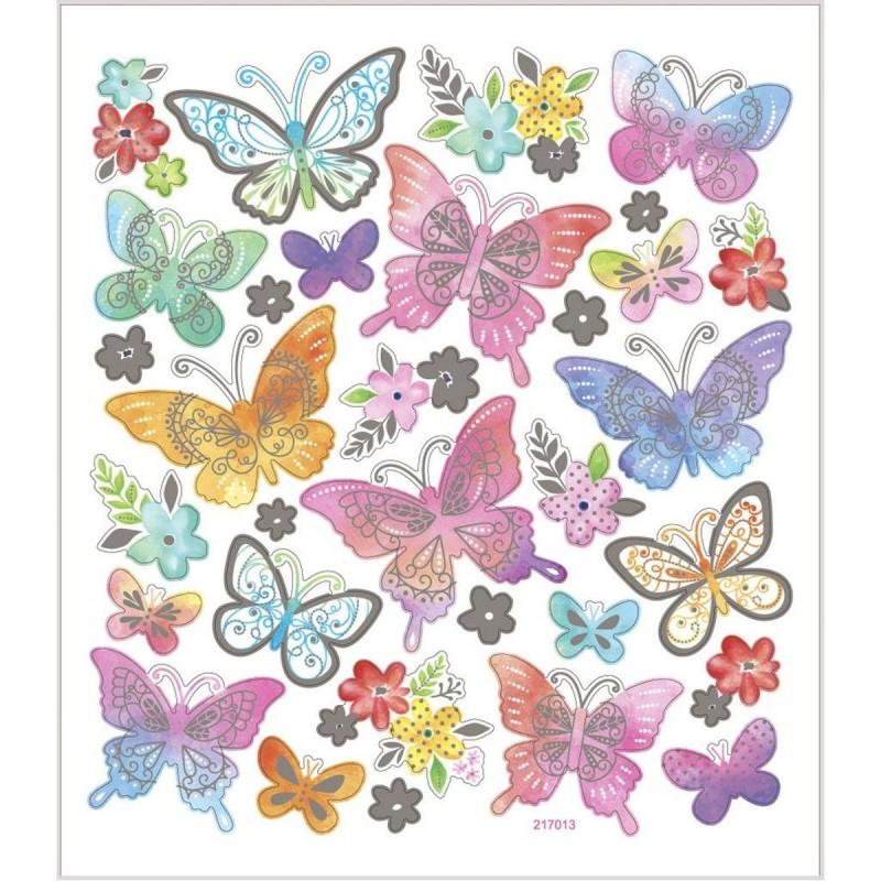 Motylki pastelowe naklejki ze srebrnymi szczegółami, Creativ Company