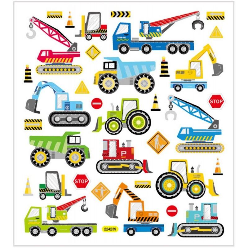Pojazdy budowlane ozdobne naklejki metaliczne dla dzieci +3, Creativ Company