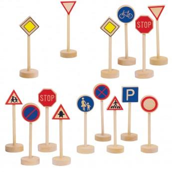 Drewniane znaki drogowe 15 sztuk zestaw do zabawy, Goki