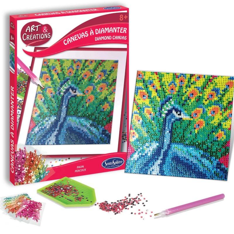 Zestaw kreatywny obraz z diamentami Paw dla dzieci +8, SentoSphere